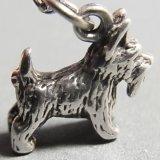 アメリカ ヴィンテージ シルバー テリア犬 チャーム 13×11mm(チェーン有。無し-300円引き)