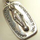 ヴィンテージ シルバー(銀製)不思議のメダイ「原罪なくやどりたもうマリア、我等の為に祈り給え」 聖マリア立体意匠 12×23mm(チェーン有。無し-300円引き)
