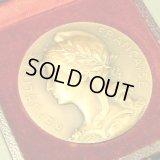フランス アンティーク フランスを象徴する自由の女神 マリアンヌ ブロンズメダル 専用ケース付1911年 / Ch. Marey 作