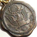 【参考画像有り】【希少】第二次世界大戦 当時もの アメリカ ミリタリー イーグル ウオッチフォブ(懐中時計の飾り) メダル ブロンズ製 37×42mm