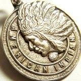 ベルギー アメリカン インディアン 第一次世界大戦当時 感謝メダル 23×23ミリ(チェーン有。無し-300円引き)