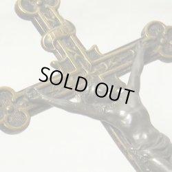 画像1: アンティーク 聖イエスの像が美しい LLサイズクロス 72×141mm