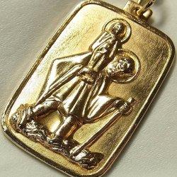 画像1: 【大型】ヴィンテージ 幼子イエスと聖クリストフォロ 真鍮(しんちゅう)製 メダイ23×38mm(チェーン有。無し-300円引き)