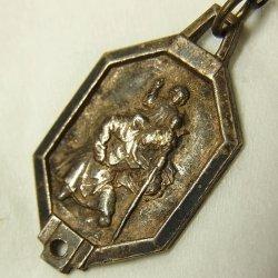 画像1: アンティーク 幼子イエスと聖クリストフォロ メダイ 14×24mm (チェーン有。無し-300円引き)