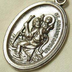 画像1: 【バーゲン】ヴィンテージ 幼子イエスと聖クリストフォロ メダイ 16×26mm(チェーン有り。無しの場合は300円引き)