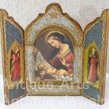 【小型サイズ】イタリア ヴィンテージ『観想の聖母マリア』カルロ・ドルチの工房作 3枚続きの祭壇画(高さ155ミリ)