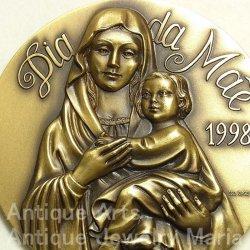 画像1: 【バーゲン】【特大型 90mm 】ポルトガル 幼年イエスを抱く聖母マリア ブロンズ メダル ESC.JORGE COELHO作