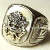 アメリカ USA WW2 ヴィンテージ シルバー(銀)と真珠貝のARMYリング サイズ19号