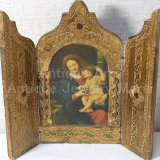 【大型サイズ】イタリア アンティーク ピエール・ミニャール Pierre Mignard(1612-1695)作「葡萄の房を持つ聖母」3枚続きの祭壇画(高さ220ミリ)