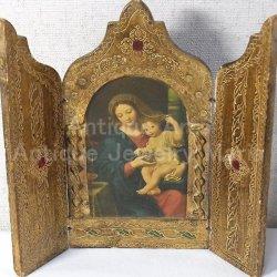 画像1: 【大型サイズ】イタリア アンティーク ピエール・ミニャール Pierre Mignard(1612-1695)作「葡萄の房を持つ聖母」3枚続きの祭壇画(高さ220ミリ)