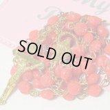 【バーゲン】アメリカ ヴィンテージ 薔薇の形のビーズのロザリオ (ロザリオポーチ付き) 【首掛けサイズ】