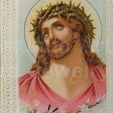 ★イバラの冠を被る聖イエス【バーゲン】《ペーパーレース》アンティーク ホーリーカード《大きめサイズ》(グループ254)