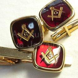 画像1: アメリカ ヴィンテージ フリーメイソンGOLD FILLED ワインレッド ネクタイ留め カフスボタン セット