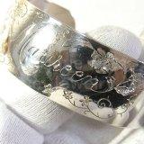 【バーゲン】ヴィンテージ 銀925製 お花の彫刻 カフ ブレスレット