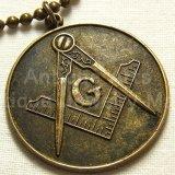 アメリカ  フリーメーソン アンティーク メダル 30mm (ボールチェーン付き)