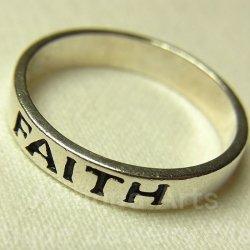 """画像1: FAITH""""信頼、信仰、確信""""ヴィンテージ シルバー(銀製)リング サイズ:18"""