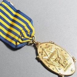 画像1: 【希少】第二次世界大戦 アメリカ軍 フリーメイソン ナショナル ソージャナー(National Sojourners – US Military)イーグル ヴィンテージ リボンメダル 25×45mm