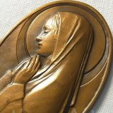 【希少】【極美形】フランス ヴィンテージ 聖母マリア お祈り ブロンズ メダル Emile MONIER作 42×64mm