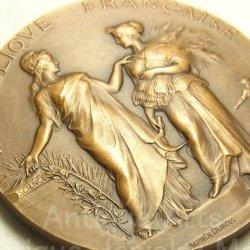 """画像1: 【バーゲン】フランス共和国 アンティーク ブロンズメダル """"農業労働者を知識へ導くマリアンヌ""""1910年 Alphee Dubois(アルフェ・デュボワ)作 50mm"""