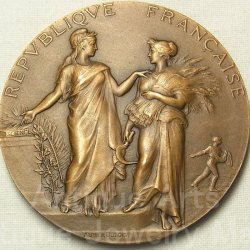 """画像3: 【バーゲン】フランス共和国 アンティーク ブロンズメダル """"農業労働者を知識へ導くマリアンヌ""""1910年 Alphee Dubois(アルフェ・デュボワ)作 50mm"""