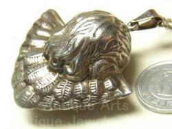 画像3: 【特大型サイズ】ヴィンテージ SILVER(銀925) 天使 3D 立体 チャーム 45×45mm(チェーン有。無し-300円引き)