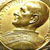 ローマ教皇 パウロ6世 PAVLVS VI PONT. MAXIMVS ポンティフェクス・マクシムス(最高司祭)ヴィンテージ GOLD PLATED メダイ 30mm (チェーン有。無し-300円引き)