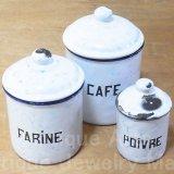 【1930年製】フランス アンティーク 《ホワイト+ブルーマーブル》ホーローキャニスター3点セット(POIVRE(コショウ)FARINE(小麦粉)CAFE(コーヒー))