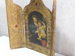 画像3: 【大型サイズ】イタリア アンティーク ピエール・ミニャール Pierre Mignard(1612-1695)作「葡萄の房を持つ聖母」3枚続きの祭壇画(高さ220ミリ)