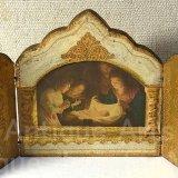【バーゲン】【小型サイズ】イタリア ヴィンテージ『観幼子イエスと聖母マリアThe Virgin Mary with the infant Jesus』【推定】カルロ・ドルチの工房作 3枚続きの祭壇画(高さ118ミリ)