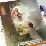 【バーゲン】【特大:約B5サイズ(20cm×25cm)】《未使用・イタリア製》聖母マリア・聖イエス 聖画リトグラフ印刷 (グループ287)